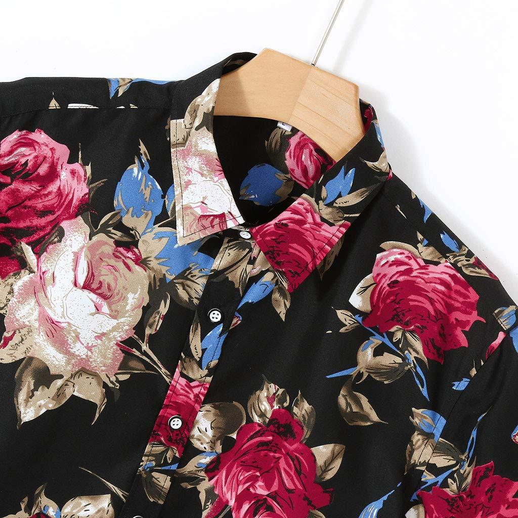 Mens Beach Shirt,RNTOP Mens Hawaiian Short Sleeve Shirt Aloha Flower Print Casual Button Down Shirts