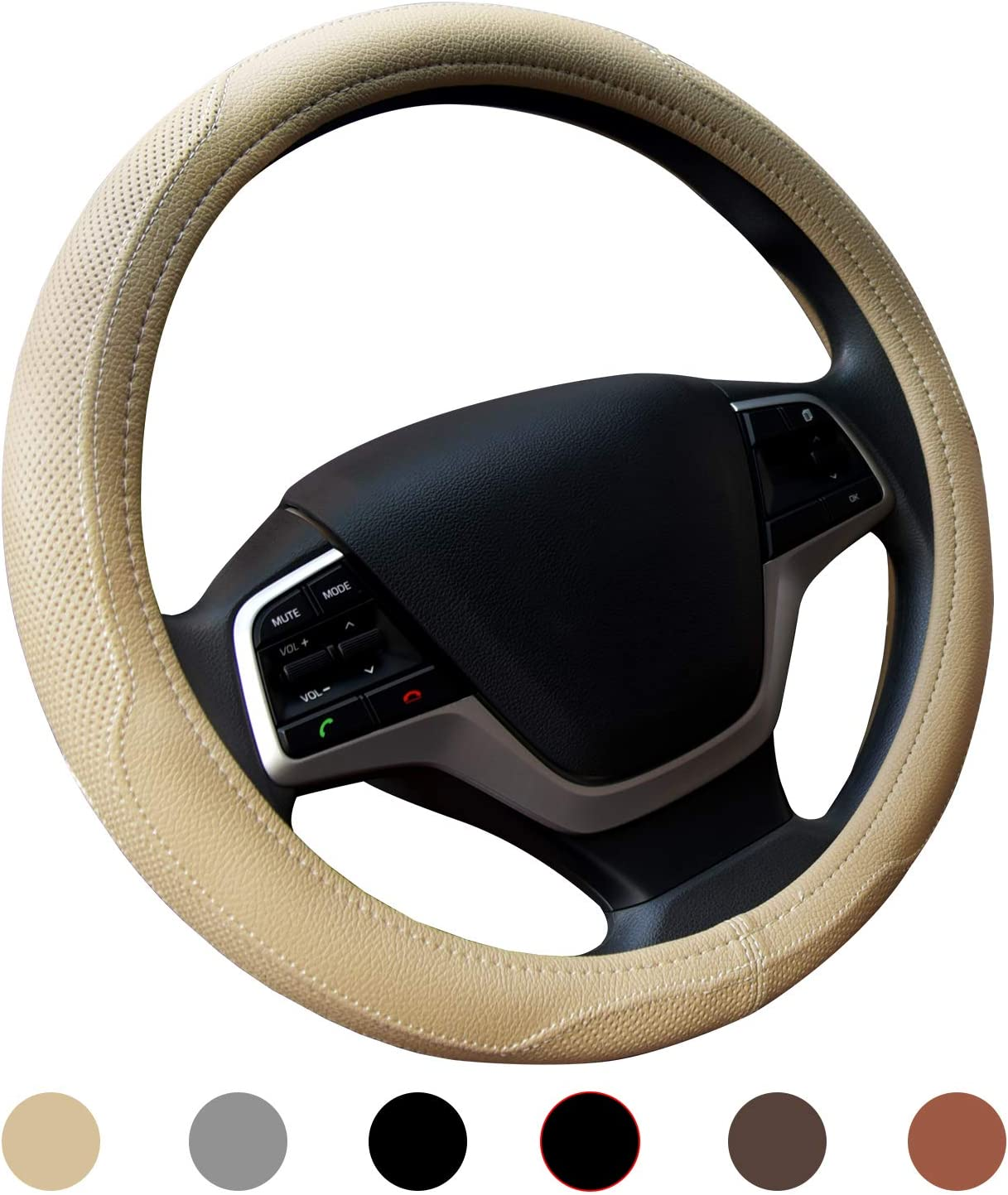 Ylife Microfiber Leather Car Steering Wheel Cover, Universal 15 inch Breathable Anti Slip Auto Steering Wheel Covers, Beige