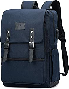 Anti Theft Laptop Backpack Men Women Business Travel Computer Backpack School College Bookbag Stylish Water Resistant Vintage Backpack with USB Port Fits 15.6 Inch Laptop Blue