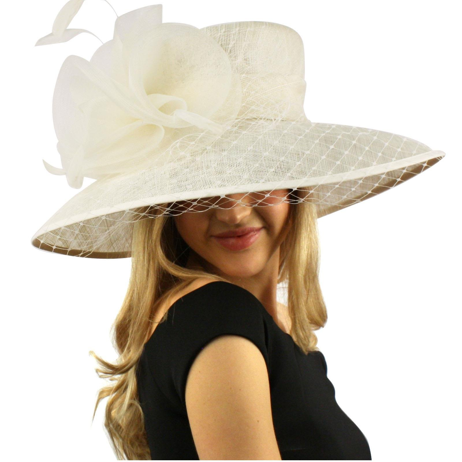 Elegant Dome Simamay Feathers Overlay Netted Derby Floppy 6'' Brim Dress Hat Ivory by SK Hat shop