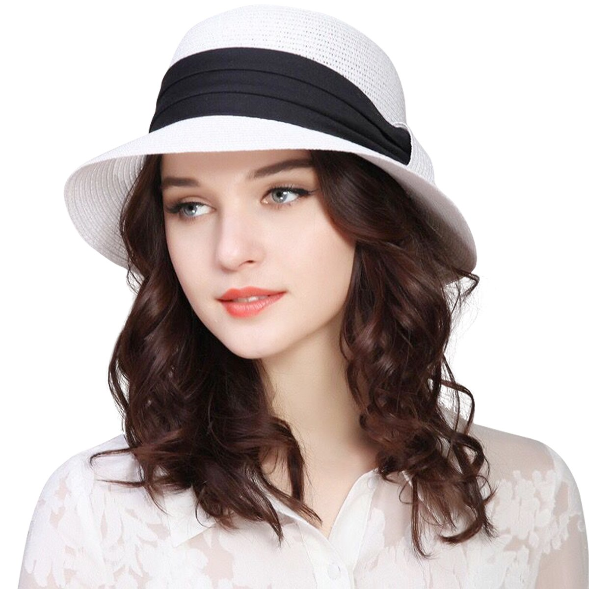 Lanzom Women Wide Brim Straw Foldable Roll up Cap Fedora Beach Sun Hat UPF50+ (White)