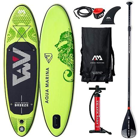 Aqua Marina BT-19BRP Breeze Stand Up Paddle Board - Tabla de Paddle Surf (Hinchable, 27,5 x 76 x 12 cm), Color Negro