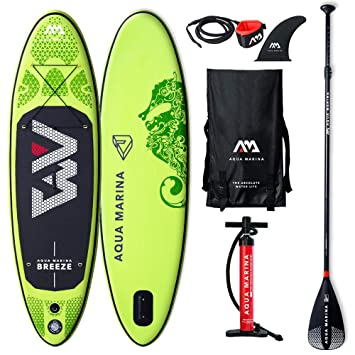 Aqua Marina BT-19BRP Breeze Stand Up Paddle Board - Tabla de Paddle Surf (Hinchable, 27,5 x 76 x 12 cm), Color Negro