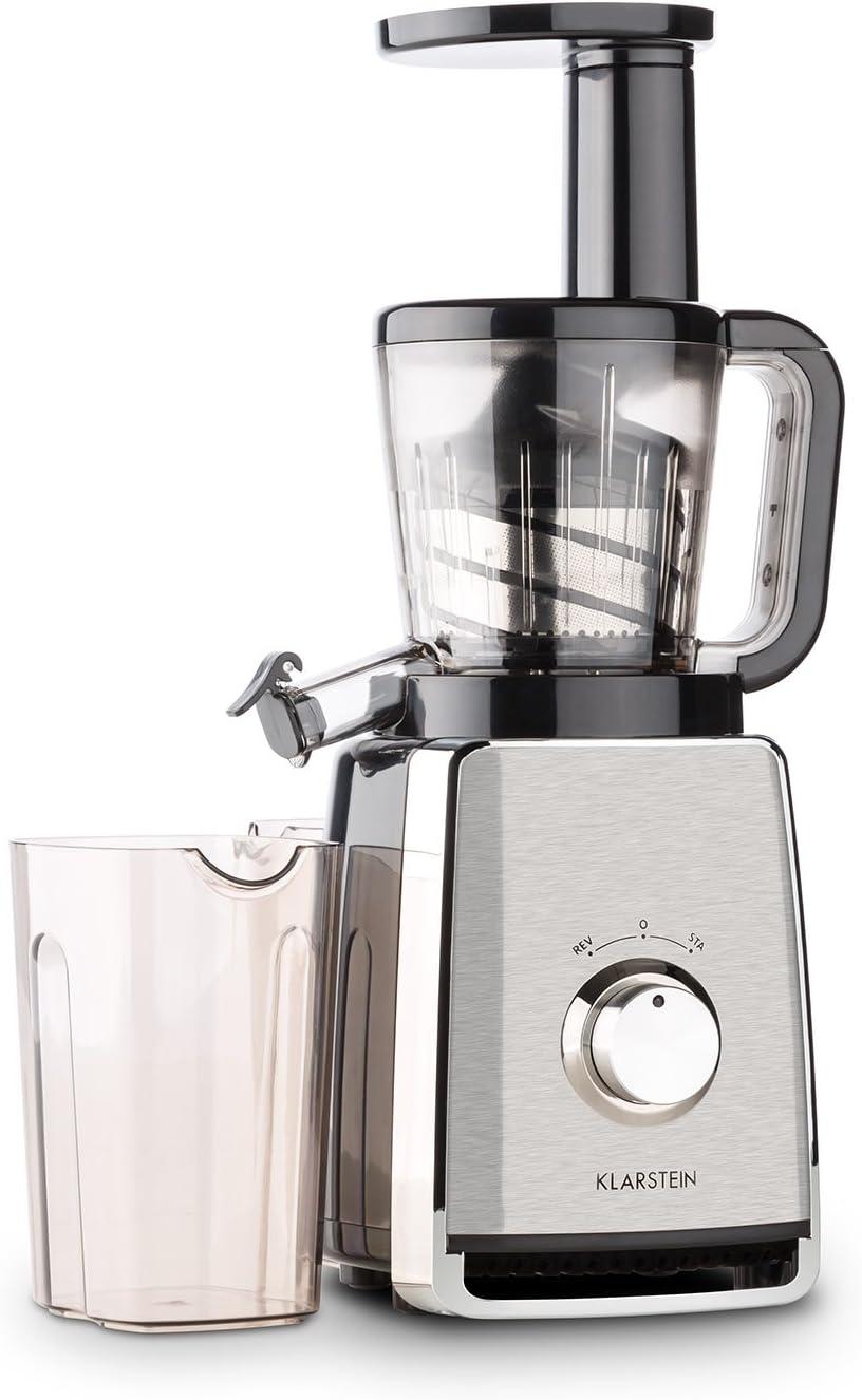 KLARSTEIN Sweetheart Slow Masticating Juicer Extractor • Fruit & Vegetable Cold Press Juicer Machine • 150 W • Slow Speed • Stainless Steel • Reverse Function • Black