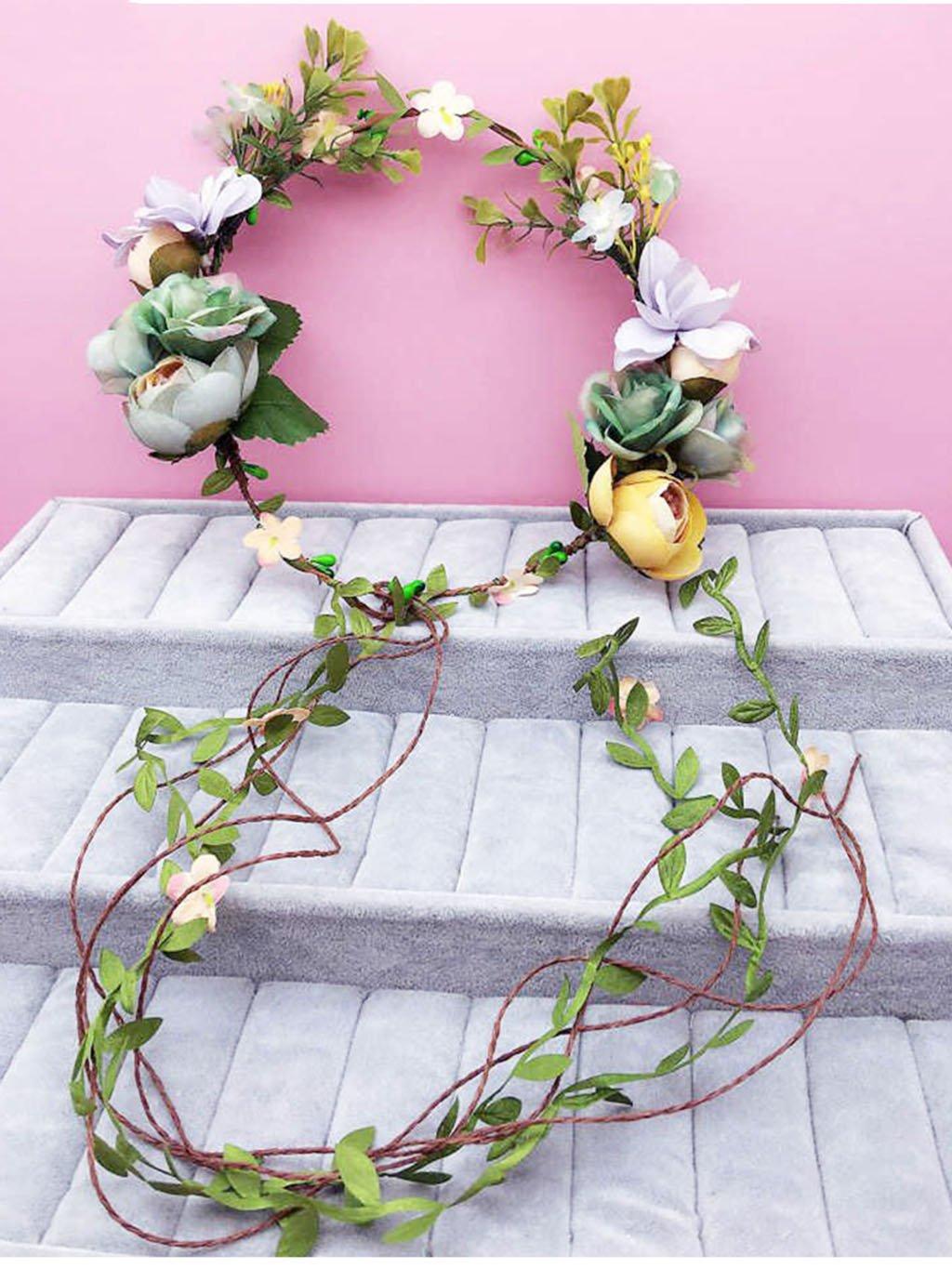 Wreath Flower, Headband Flower Garland Handmade Wedding Bride Party Ribbon Headband Wristband Hairband Red (Color : B)