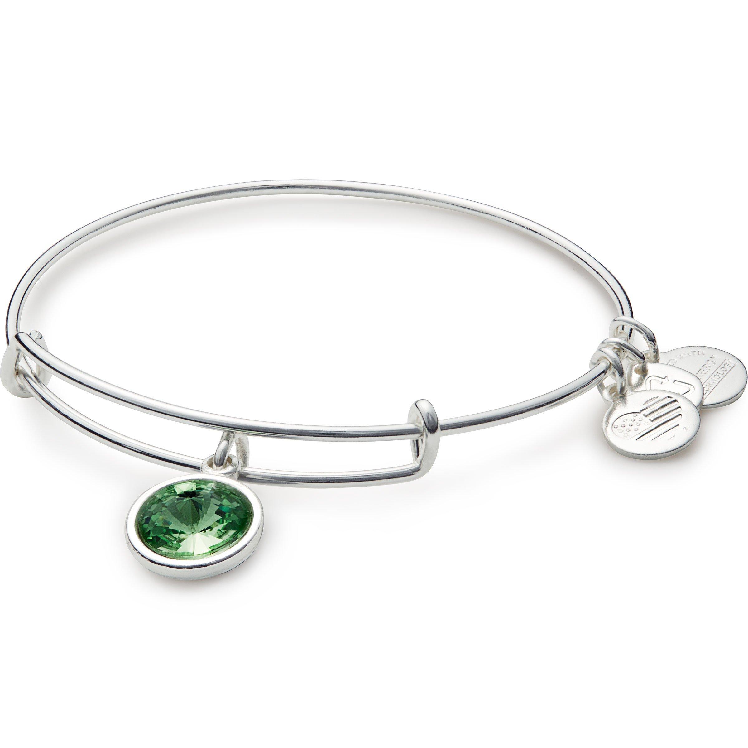 Alex and Ani Bangle Bar August Imitation Birthstone Shiny-Silver Tone Expandable Bracelet