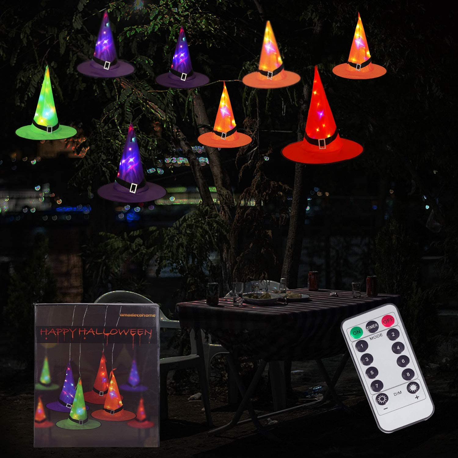 Halloween Decorations 8Pcs Glowing Witch Hats String Light Battery Operated Halloween String Lights for Indoor and Outdoor