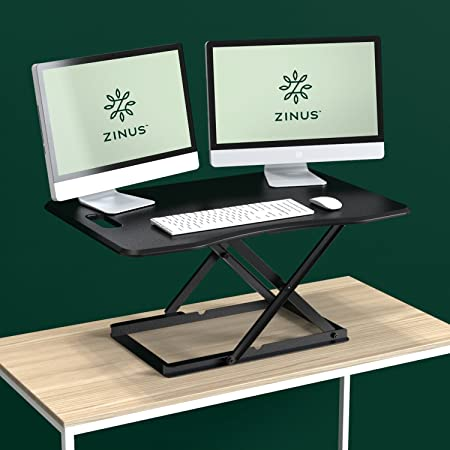 Zinus Penny Smart Adjust Standing Desk Adjustable Height Desktop Workstation 36 x 24 Black