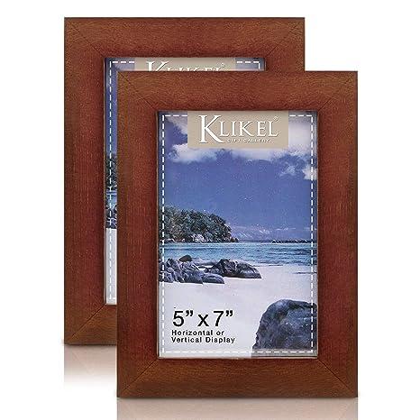 Amazon.com: Klikel - Marco de fotos de madera de nogal (2 ...