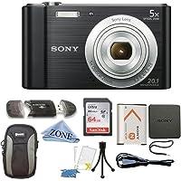 Sony W800/B DSC-W800/B DSCW800B 20 MP Digital Camera 5x Optical Zoom (Black) Bundle with 64GB SDHC Memory Card, Table top Tripod, Deluxe Case, and Microfiber Lens Cloth