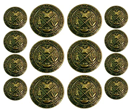 ANTIQUED GOLD ~GOLF KING'S CREST~ 14-Piece PREMIUM DESIGNER GRADE METAL  FASHION BUTTON SET For Double Breasted Blazers, Sport Coats, Suit Jackets,  &