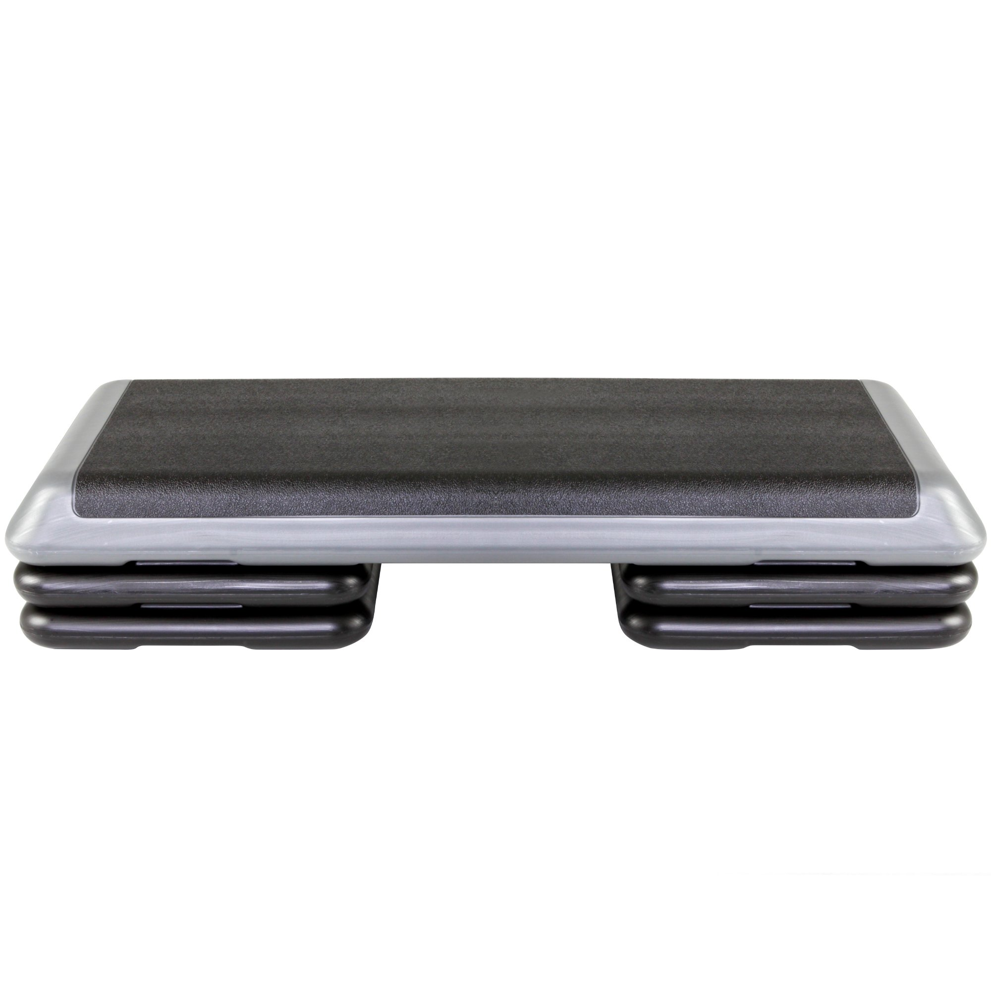 The Step Original Aerobic Platform for Total Body Fitness - Health Club Size with Grey Platform and 4 Original Black Risers