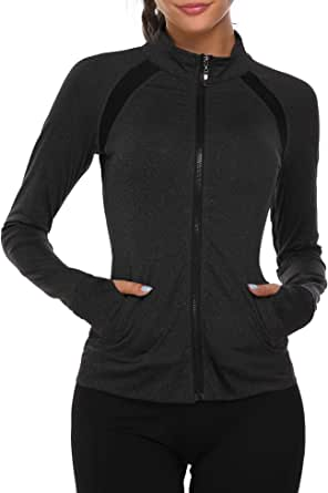 HOTLOOX Women's Slim Fit Yoga Workout Jacket Full Zip Thumb Hole Pockets Track Outerwear S-XXL