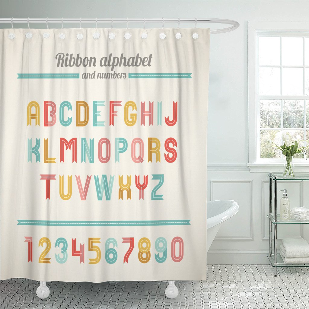 Emvency Shower Curtain Ribbon Latin Alphabet And Numbers B C D E F G H I J K L M N O P Q R U V W X Y Z Perfect For Holiday Waterproof Polyester Fabric 72