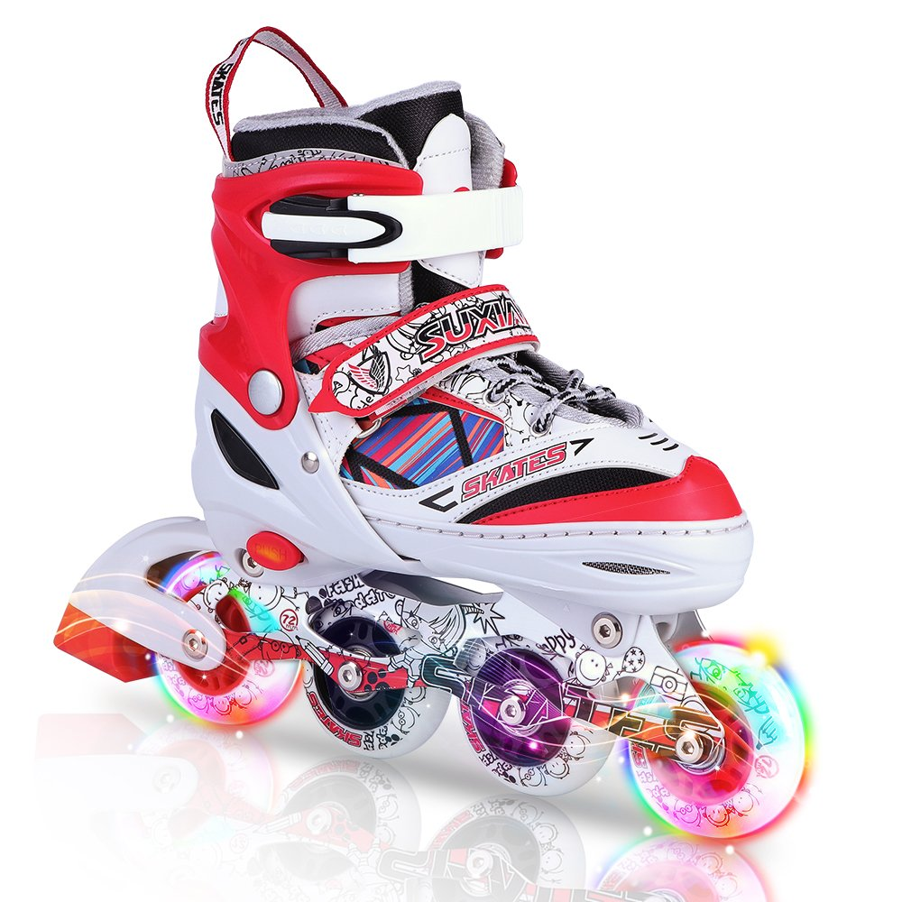 Kuxuan Kids Doodle Design Adjustable Inline Skates with Front and Rear Led Light up Wheels, Comic Style Rollerblades for Boys and Girls - Red M