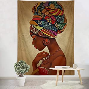 LB Tribal African Print Black Woman Tapestry with Afrocentric Tribal Headware Sexy African American Wall Tapestry for Bedroom Living Dining Room College Dorm Home Decor 59''Lx51''W
