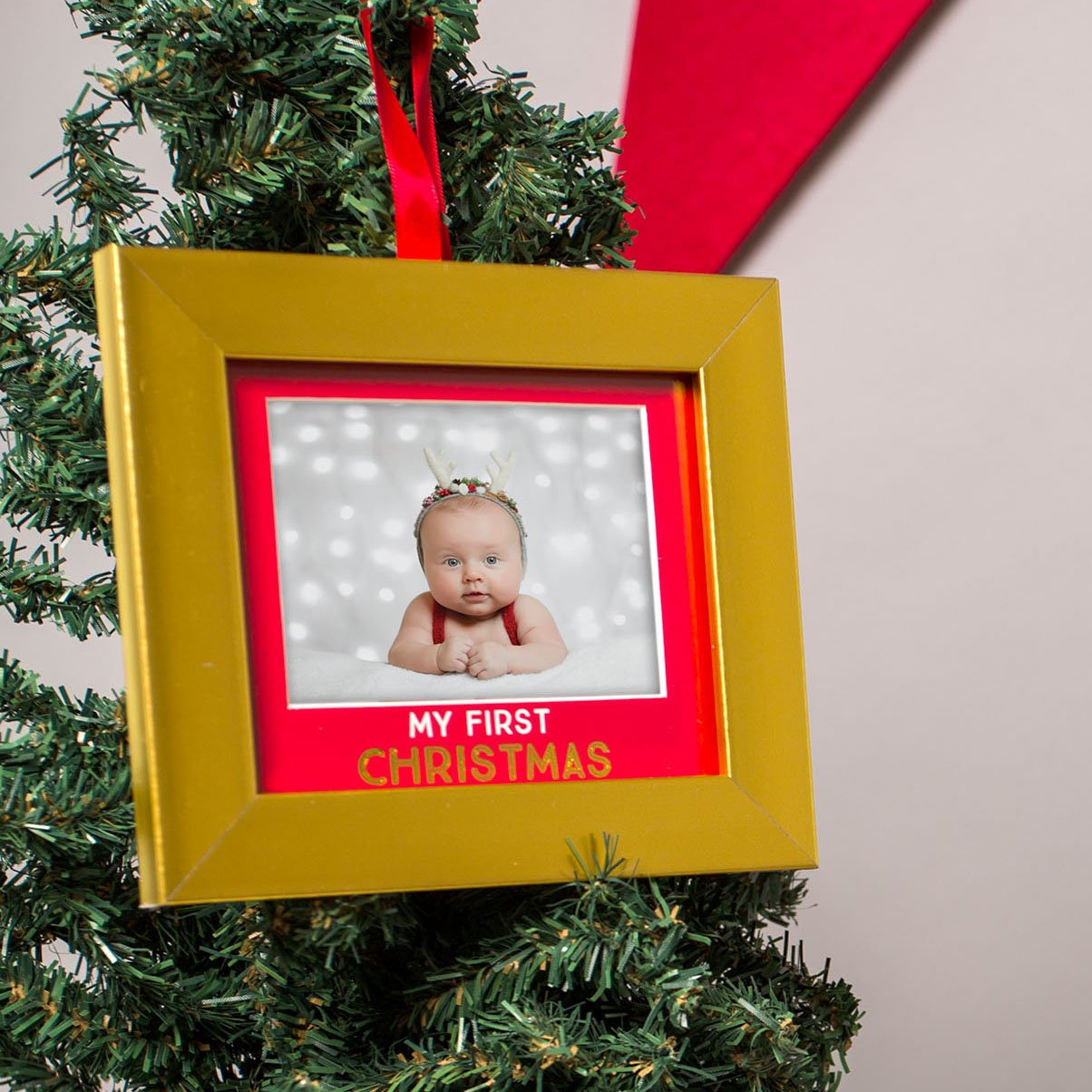 Holiday Gift Set Keepsake Holiday Frame and Photo Ornament Set Babys First Christmas Keepsake Lil Peach
