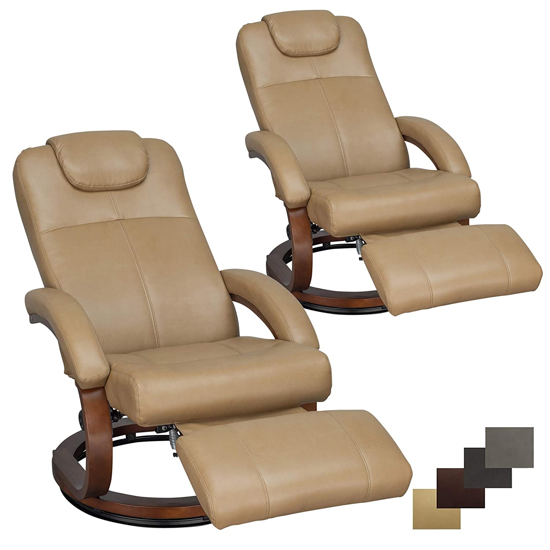 "RecPro Charles 28"" RV Euro Chair Recliner Modern Design RV Furniture (2, Toffee)"
