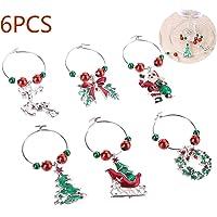 PRINDIY 6pcs / Set Christmas Wine Glass Charms