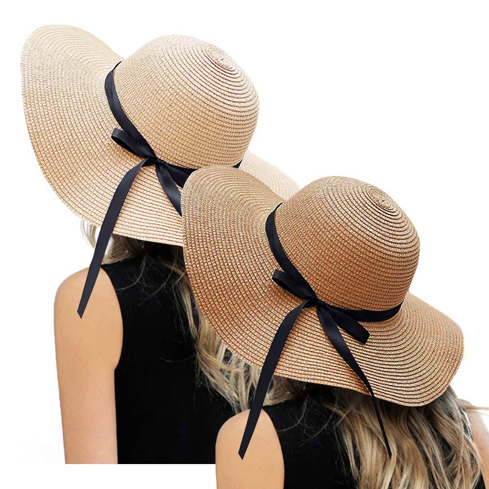 ZOORON Womens Floppy Summer Sun Beach Straw Hat, Foldable Wide Brim Hats with Bowknot UPF50