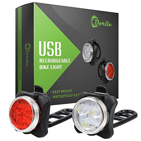 dorlle recargables LED bicicleta luz, LED luz delantera y trasera ...