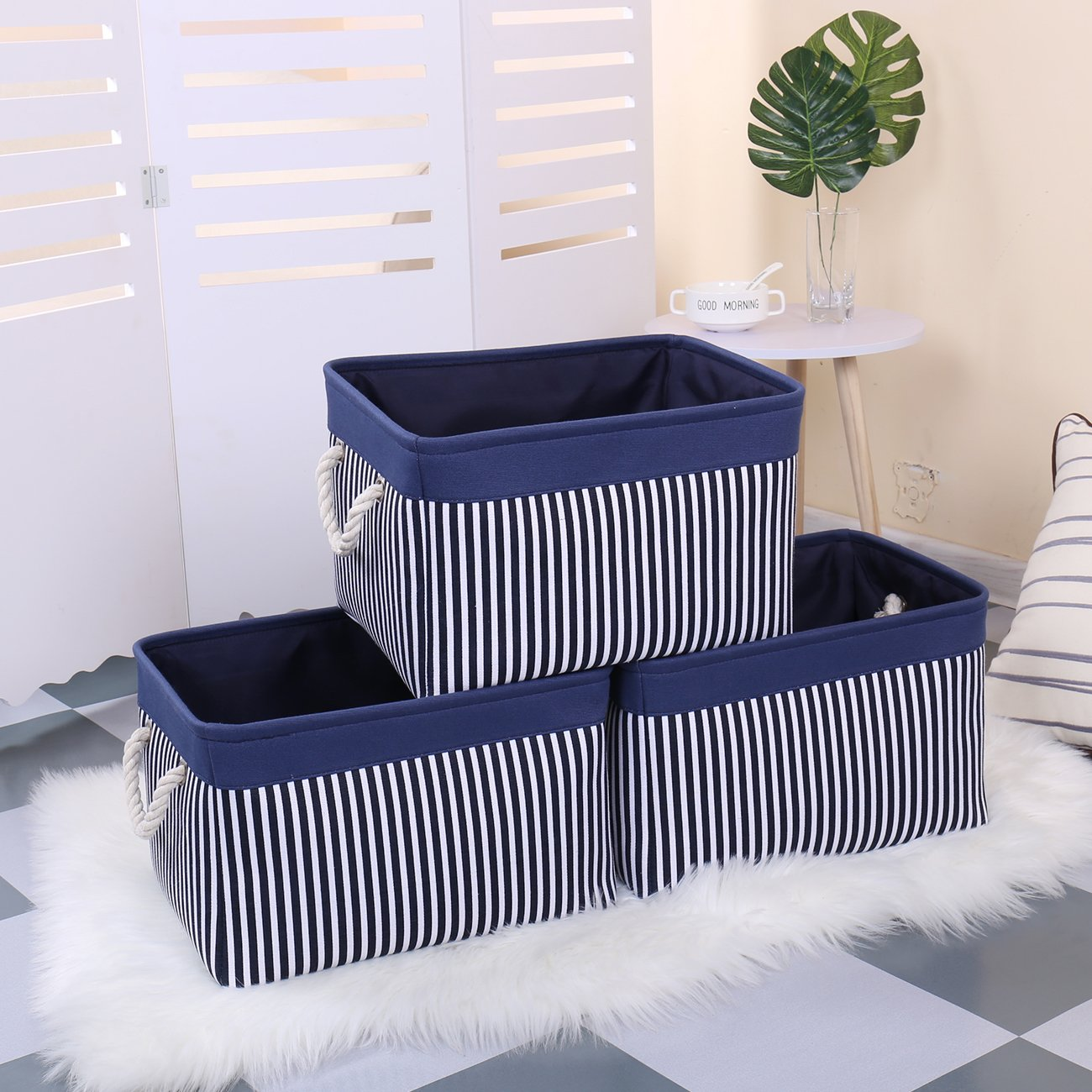 TcaFmac Large Rectangular Nautical Baskets for Storage Decorative Canvas Closet Storage Bins Organizing Baskets for Shelves W x 12 Nursery Toys,Empty 16 H L x 12 inch