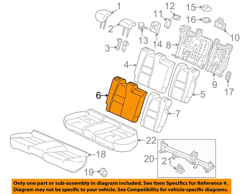Right Honda Genuine 82121-TM8-A91ZB Seat Back Trim Cover Rear
