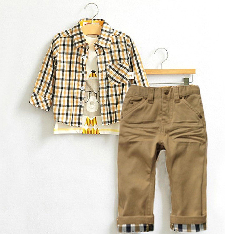 De feuilles Chic-Chic Ensemble Gar/çon B/éb/é 3pc Combinaison Chemise Carreau Pantalons Casual Pull Longues Manches Haut T-Shirt