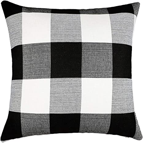 100/% Cotton 20x20 Pillow Cover or Cover and Pillow Form Black /& White Buffalo Check Pillow with Bleached Canvas Back