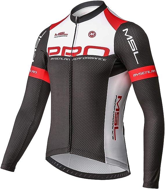 Mysenlan Maillot de Ciclismo Hombre Camiseta Manga Larga Jersey Ropa para Bicicleta Verano MTB Camisa: Amazon.es: Deportes y aire libre