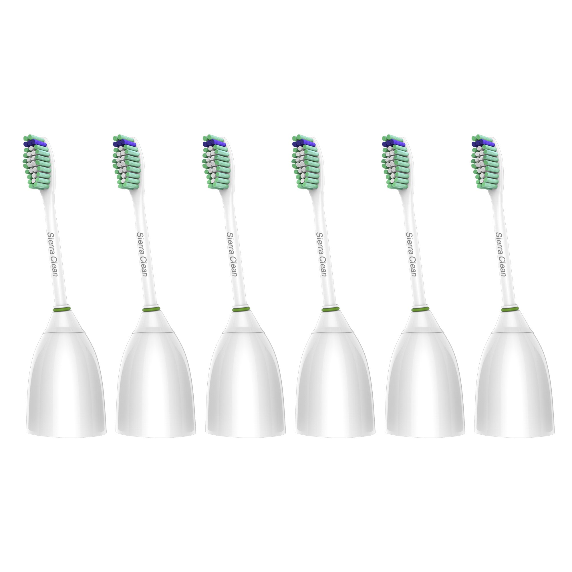 Sierra Clean Premium Standard Size Replacement Toothbrush Heads for Philips Sonicare e-Series HX7022, 6 pack, fits Sonicare Advance, CleanCare, Elite, Essence and Xtreme Philips Brush Handles