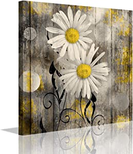 """Yanghl 12""""X12"""" Daisy Flowers Farmhouse Wall Art Yellow and Gray Floral Rustic Decor Contemporary Bathroom Decor for Home Decoration Framed Ready To Hang"""