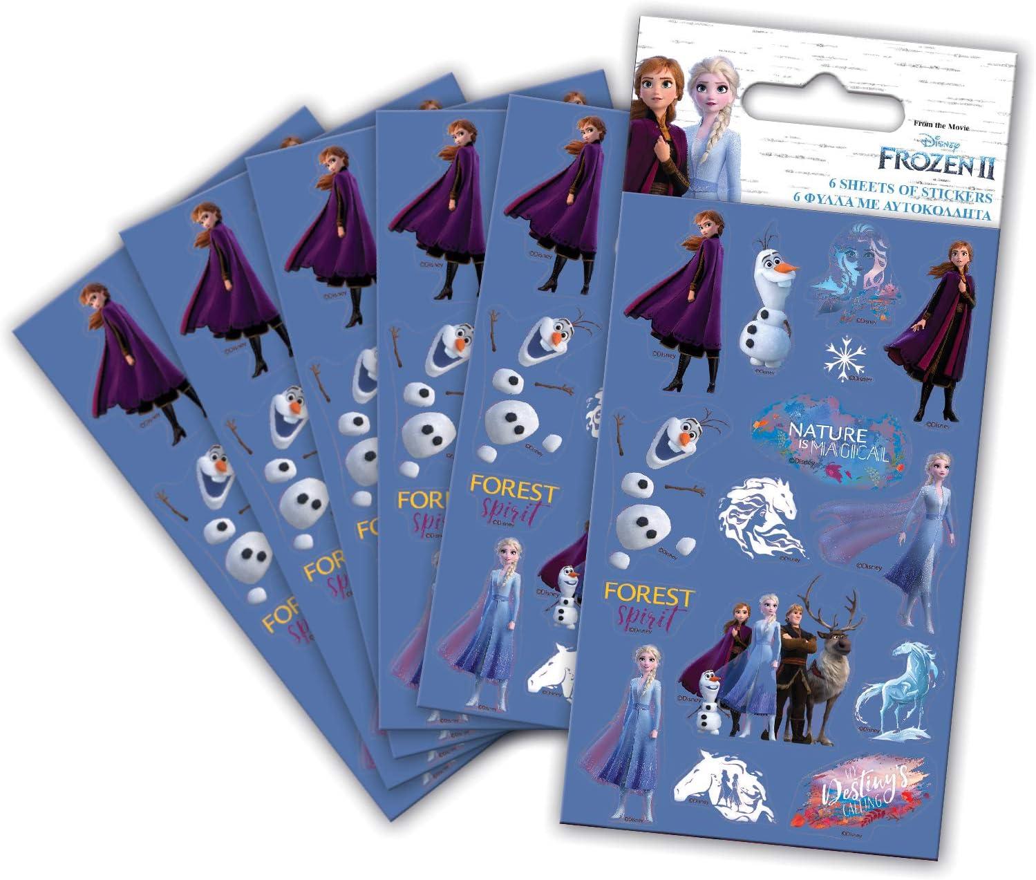 Paper Projects 9124394 Frozen - Pegatinas para fiestas (6 hojas), diseño de Frozen