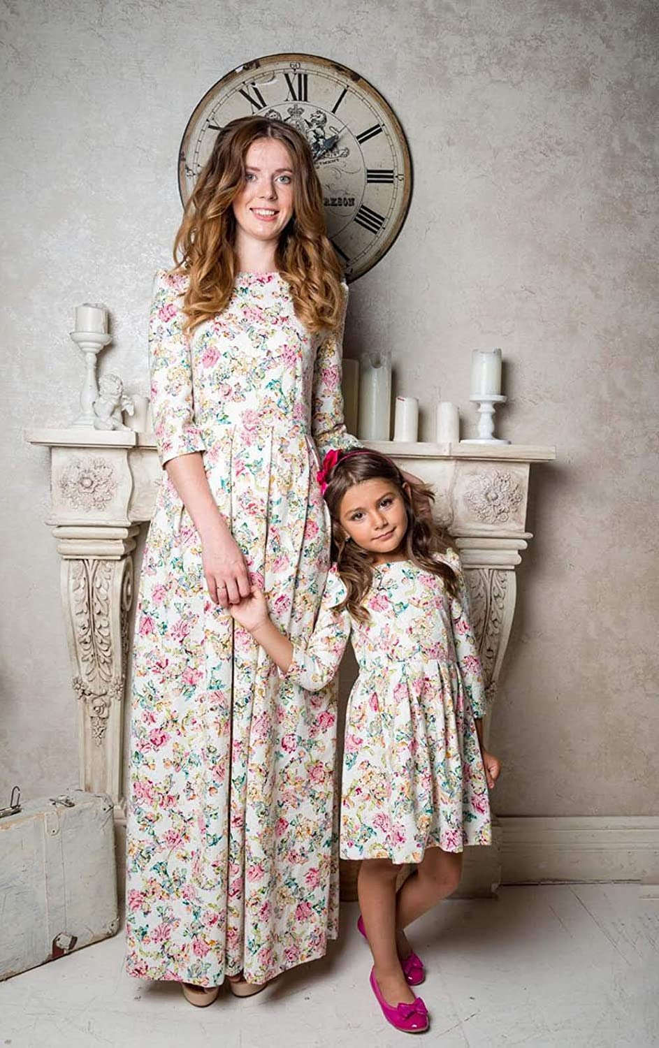 Mommy and Me Floral Matching 3//4 Sleeve Maxi Long Dresses Family Round Neck High Waist Casual Boho Dress