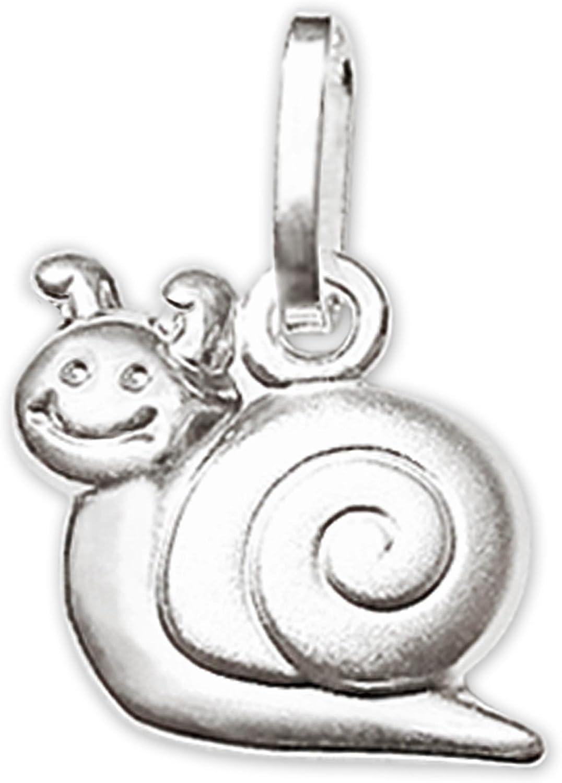 Clever Schmuck Set de petit pendentif en argent 925 Escargot 10/mm brillant et mat Cha/îne Venezia 38 cm pour enfant
