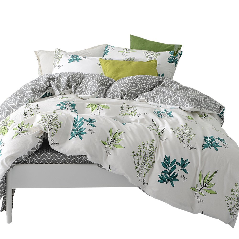 MKXI Soft Cotton Duvet Cover White Botanical Garden Plants Printing Reversible Gray Kids Bedding Twin Size Bed Cover