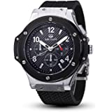 Megir Mens Black and Silver Case Chronograph Military Sport Silicone Watch