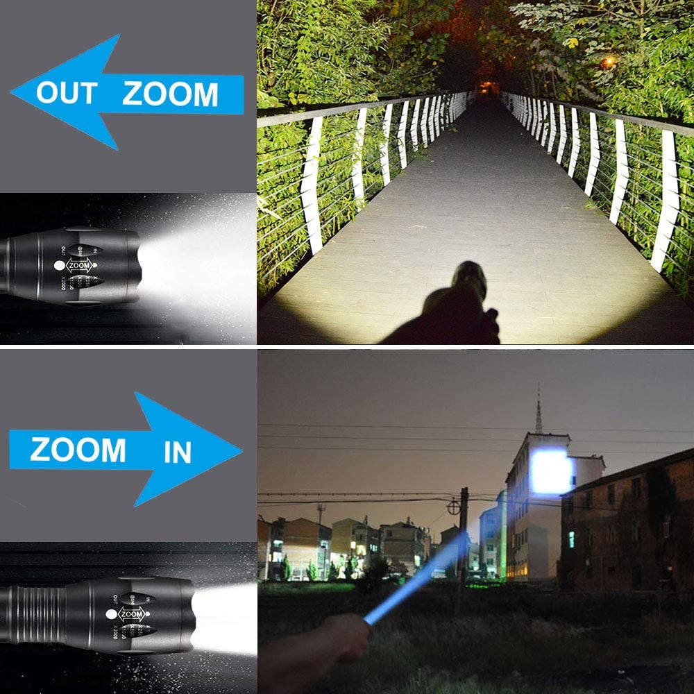 Not included 2PCS LED Tactical Flashlight,Super Bright 1000 Lumen XML T6 LED Flashlights,5 Light Modes,Zoomable Portable Waterproof Flash Light for Camping,Outdoor,Emergency,Need 3 AAA Batteries