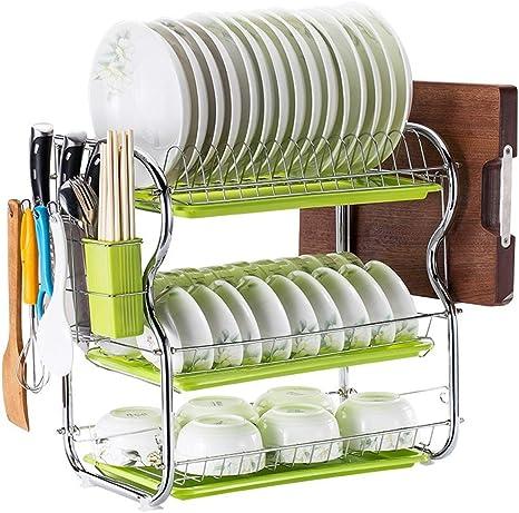 3-Tier Cocina De Acero Inoxidable Soportes para Platos Dish Drainer Dish Rack Holder Organización Estante con Bandeja de Goteo, Para Utensilios, A