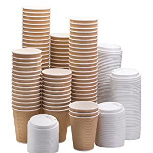 NYHI Set of 100 Brown Disposable Paper Cups