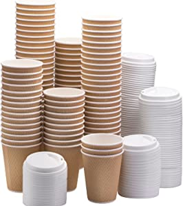 NYHI Set of 100 Brown Disposable Paper Cups with White Lids (12-oz) | Ripple Insulated Kraft for Hot Drinks - Tea & Coffee | Triple Layer Design | Eco- Friendly, Recyclable, Durable Paper