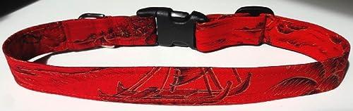 Hawaiian Fabric Over Webbing Adjustable Dog Collar--Mana Alii Hand Made in Hawaii with Aloha