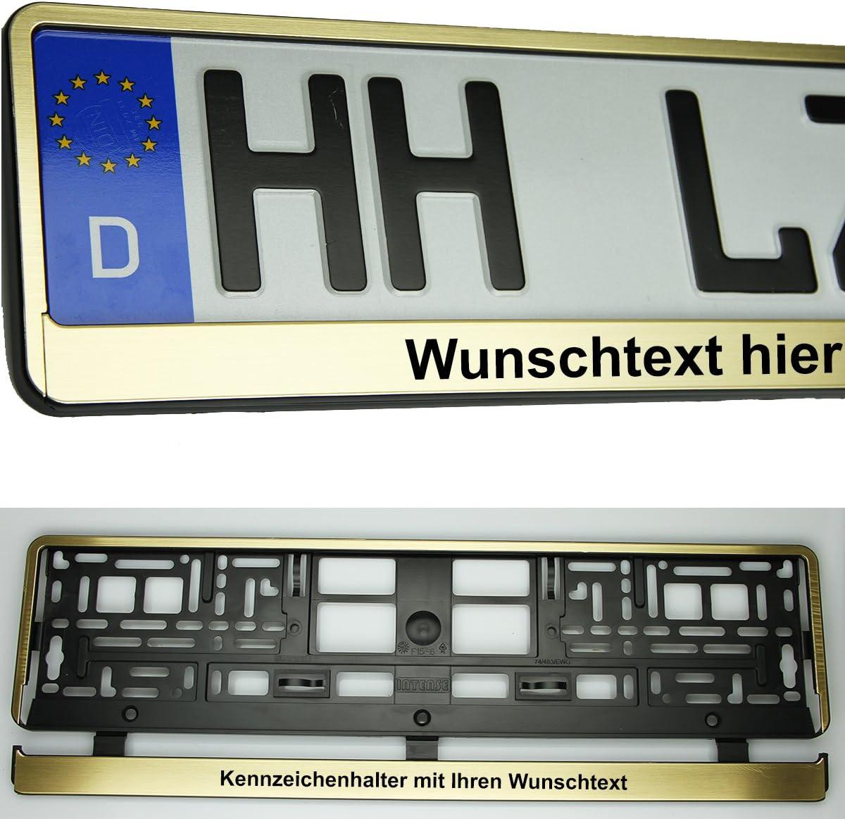 2X Kennzeichenhalterung Gold metalik geb/ürstet mit Wunschtext Kennzeichenhalter Kennzeichenrahmen NEU