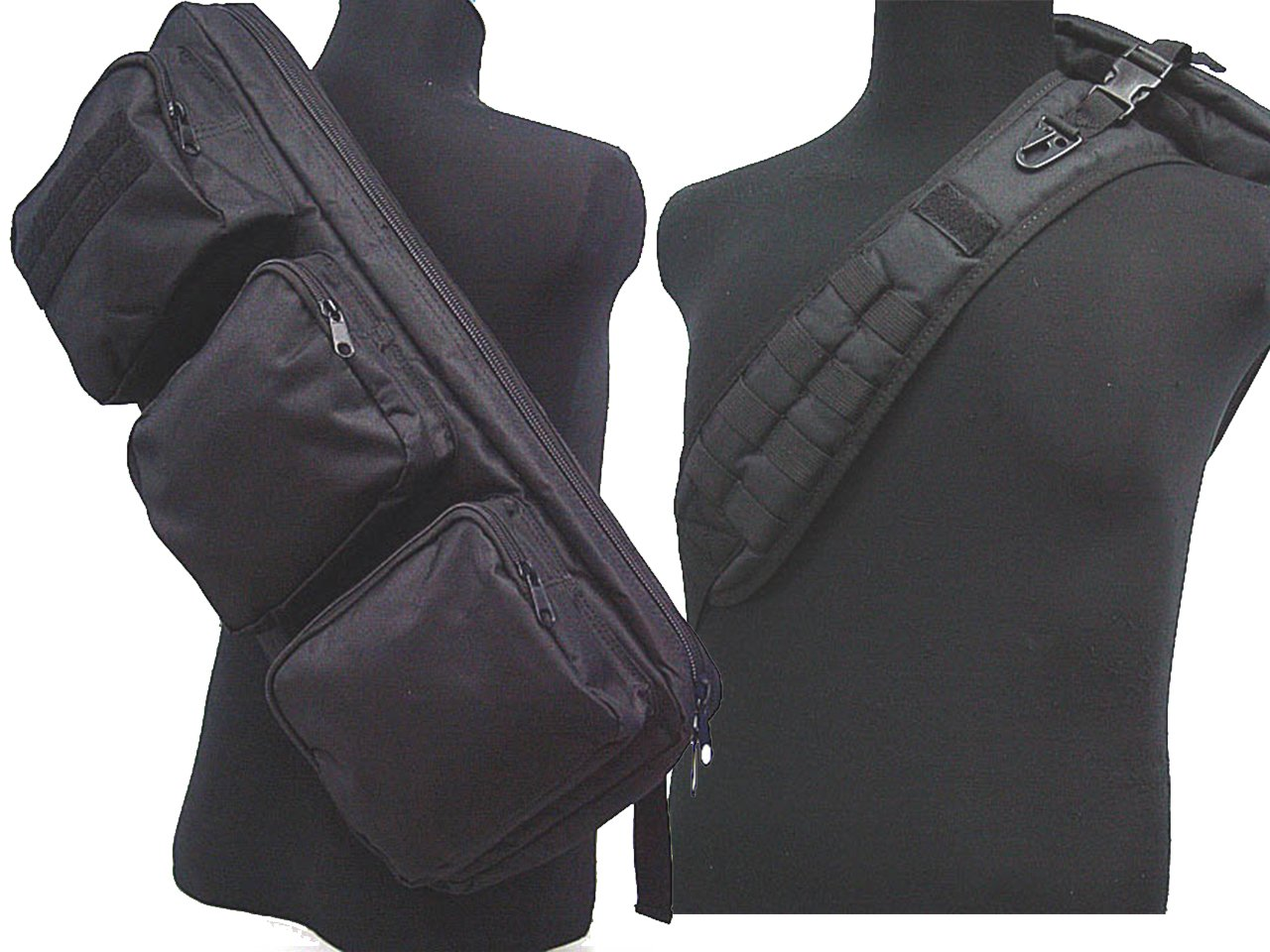 24Rifle MP5bolsa bandolera mochila de hombro Gear Airsoft Militar Negro