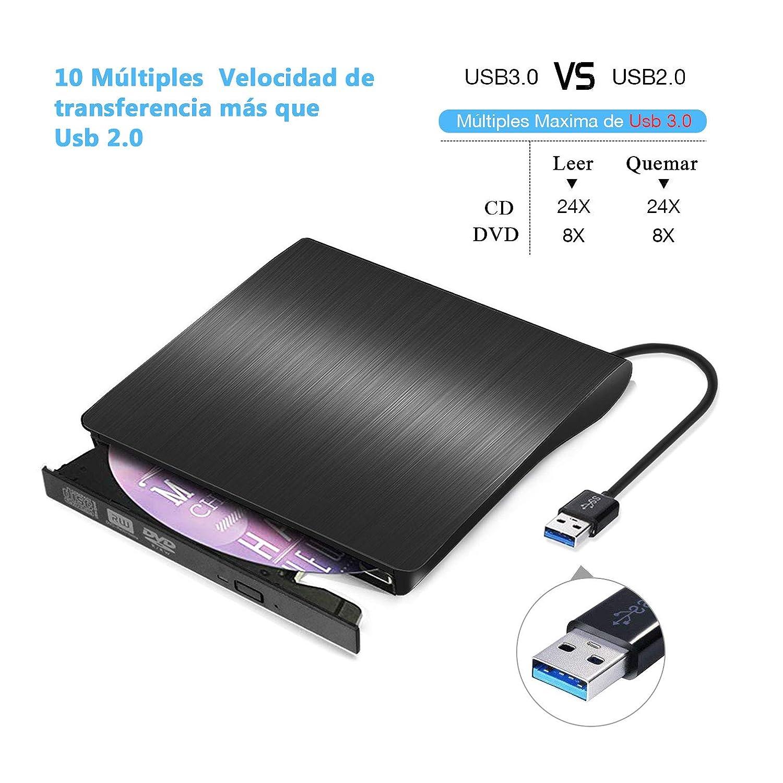 Grabadora CD / DVD Externa Usb 3.0, Rodzon Unidades de DVD Externa Portátil CD / DVD /-RW / ROM Estable con Lector / Quemador / Re - Quemador para Win ...