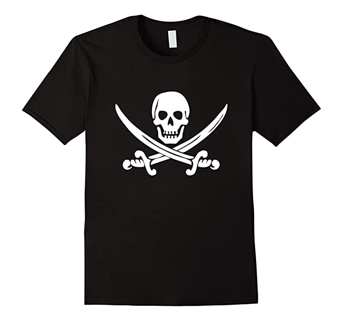Pirate Buccaneer Skull and Crossed Swords Halloween T-Shirt