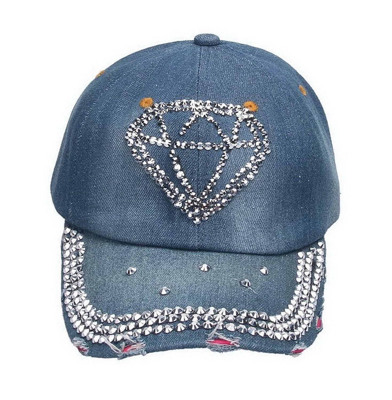 Smile YKK Women Denim Shiny Diamond Pattern Rivet Outdoor sports cap Baseball Hat