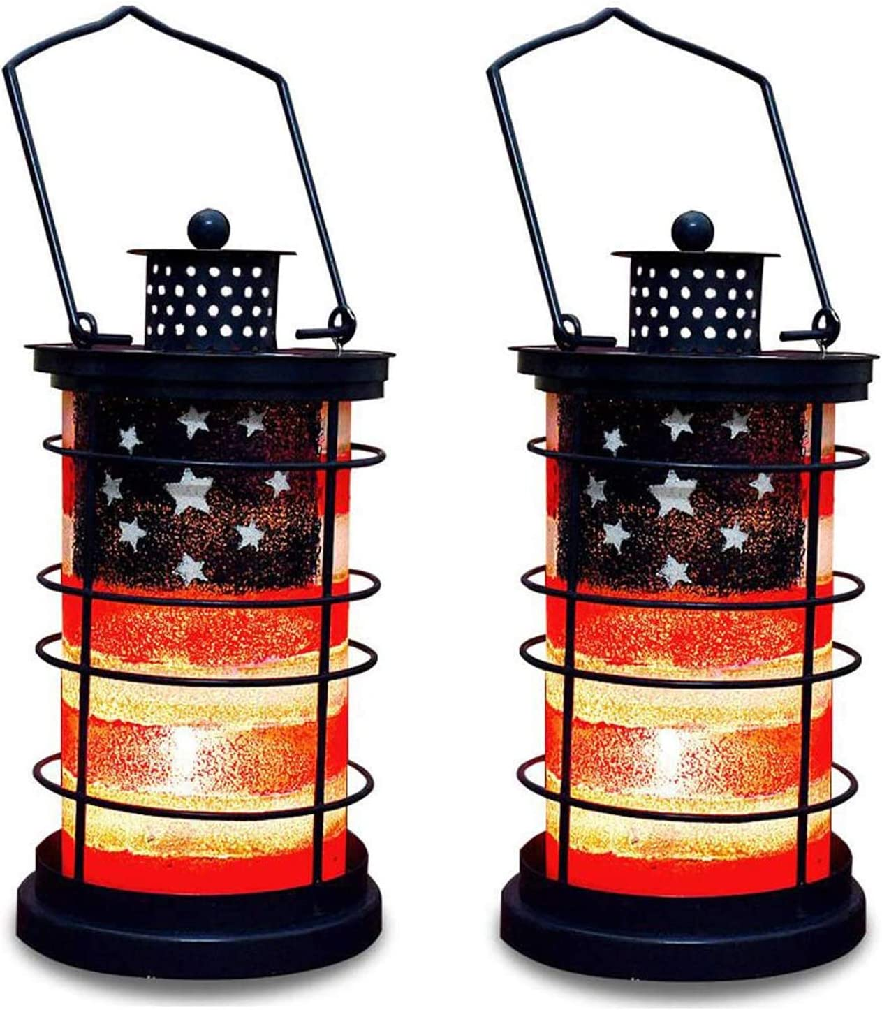 Patriotic Decorative Lantern Metal and Glass Candle Holder for July 4th Home Decor - Rustic Garden Decoration Indoor Outdoor Tea Light Holder Hanging Lanterns for Party (2)
