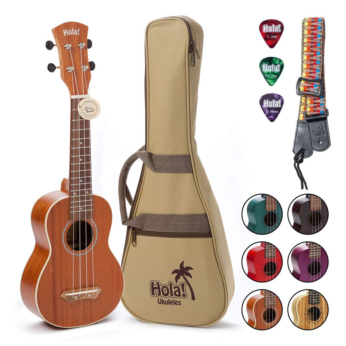 Hola! Music HM-121MG+ Deluxe Mahogany Soprano Ukulele Bundle with Aquila Strings, Padded Gig Bag, Strap and Picks, Natural by Hola! Music