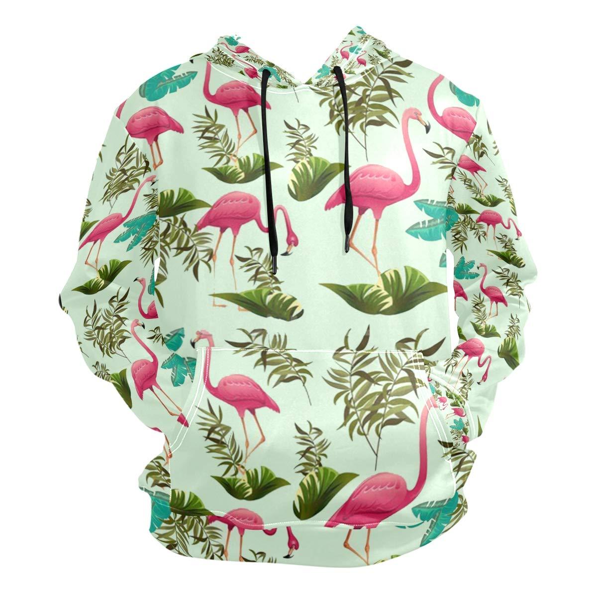 Large Charlley Lee Men's Hooded Sweatshirt Pink Flamingo Pattern Wallpaper Beautiful Fashion Hoodie